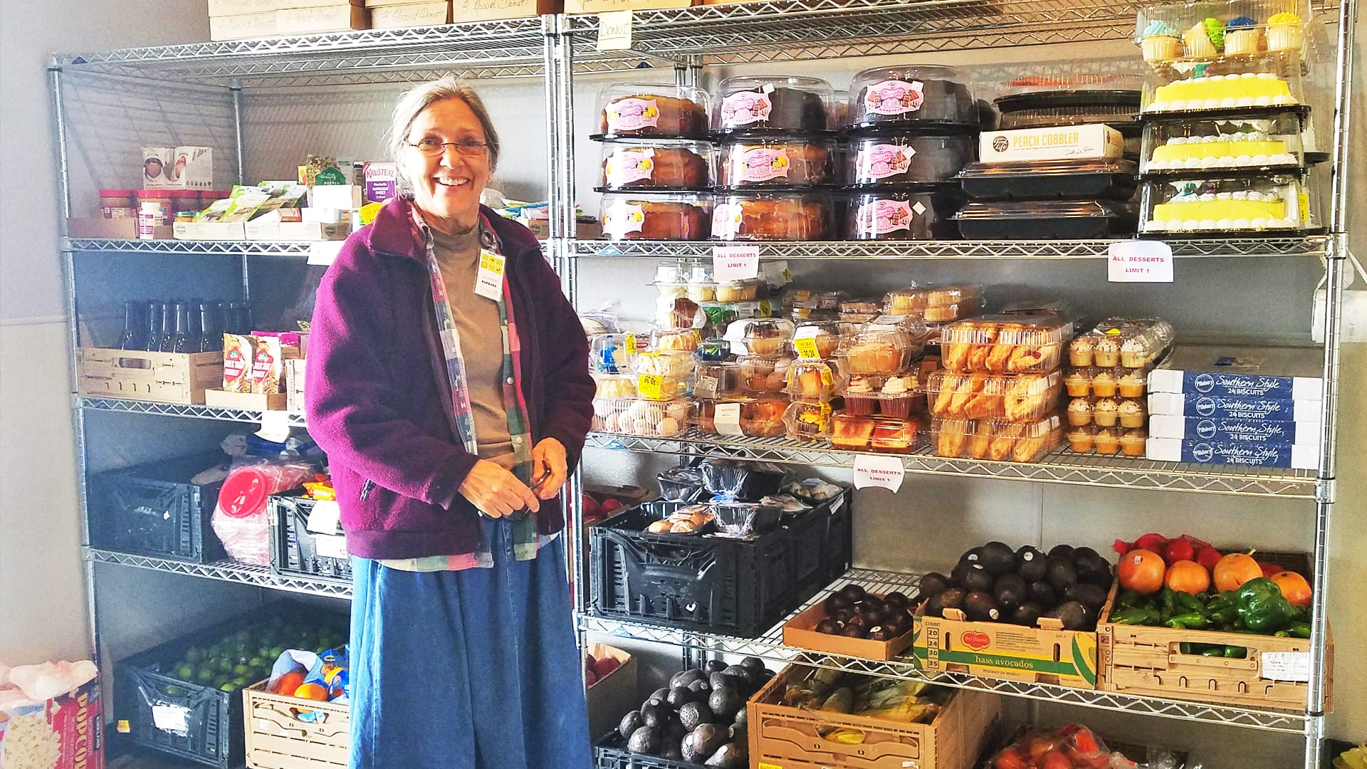 Barb stocks the front shopping area
